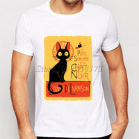 zierliches weißes hemd großhandel-Petite T-Shirt Sorciere Katze kurze Ärmel Chat noir Druck fadeless T-Shirts Mann Frau weiß farbecht Kleidung Reine Farbe modal Tshirt