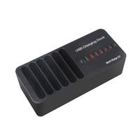 tipos de ic al por mayor-8 puertos USB Base de carga rápida y tipo C Puerto de carga Carga rápida Estación del cargador del organizador de escritorio con IC inteligente Detección automática