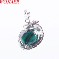 Wholesale natural malachite jewelry resale online - WOJIAER Dragon Stainless Necklace Pendant Gothic Handmade Men Jewelry Round Natural Malachite Gemstone Ball DN3132