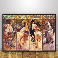 Wholesale artist home paintings resale online - Posters and Prints Classic Artist Alphonse Mucha Poster Wall Art Picture Canvas Painting for Room Home Decor