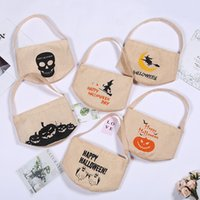 Wholesale canvas prints free shipping resale online - Halloween Candy Bag portable Cartoon Pumpkin Witch Print canvas Night Glow candy bag Halloween Party Supplies