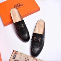 importierte schwarze lederschuhe großhandel-Imported Leather Half Slippers 1613 Schwarz Damen Slippers Fahrer Sandalen Slides Sneakers Leather Slipper Echtlederschuhe
