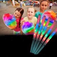 führte regenbogenstock großhandel-100% neue Zuckerwatte LED Sticks Regenbogen blinkende LED Licht Sticks Glow Night Lights Cosplay Fairy Stick Party blinkende Stick Kinder Geschenk 2020