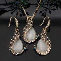 opal tavus kuşu toptan satış-Moda Kadınlar Peacock Opal Kristal Kolye Kolye Damla Küpe Takı Seti