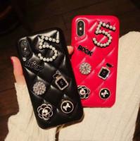 espalda de cristal de iphone al por mayor-Para iPhone X XS Max XR 8 8 Plus Funda del teléfono de lujo Crystal Grid para iPhone7 7plus Teléfono con tapa trasera de moda para iPhone6 6plus