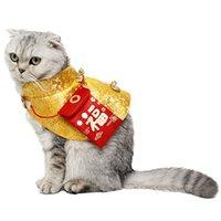 chinês novo ano roupas vermelhas venda por atacado-Roupas de gato de inverno Trajes Tang Ano novo chinês Manto festivo Gatinho quente estilo chinês com envelope vermelho animais de estimação roupas para cães