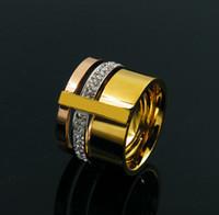 ingrosso lettere numeri di simboli-Anelli in acciaio inossidabile di titanio di cristallo di zircone di moda per gli uomini Gioielli da sposa di tre strati Anelli di bellezza femminile anello Accessorize