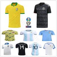 argentinien zuhause messi jersey großhandel-2019 Copa America Fußball-Trikots Argentinien Messi Brasil Kolumbien James Mexico CHICHARITO Uruguay L.Suarez Custom Heim Auswärts Fußball Trikot