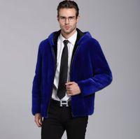 ingrosso cappotto di pelliccia di visone blu-Giacca in pelle di visone finto mens inverno addensare caldo cappotto in pelle pelliccia uomo giacche slim jaqueta de couro moda autunno blu con cappuccio