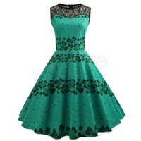Wholesale st ball online - St Patrick s Day Dress Four leaf Clover Dress Flower printing Sleeveless Hollow Dresses Lace stitching Casual Dresses styles GGA1582