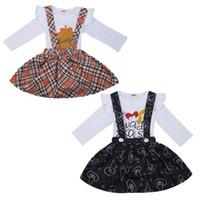 t quadratisches drucken großhandel-Mädchen Halloween Kleidung Set Cartoon Kürbis Brief Gedruckt Overall Kinder Designer Kleidung Mädchen Platz Hosenträger Rock Outfit 0-2 T 04
