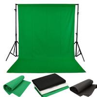gewebte kulissen großhandel-Fotostudio-Hintergrund Vlies ChromaKey-Hintergrundbildschirm 1.6X3M / 5 x 10ft Schwarz / Weiß / Grün Für die Beleuchtung von Studiofotos