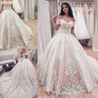 Wholesale 2020 Beautiful Lace Ball Gown Wedding Dresses Off Shoulder Sweep Train Bridal Gowns With Lace Applique Backless Wedding Gowns