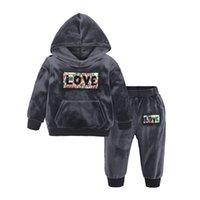 çocuklar kıyafetler kış ayarlar toptan satış-Sonbahar Kış Çocuk Giyim Seti Kadife Kapüşonlu Sweatshirt Spor Sevimli Bebek Giyim Setleri Kanat Kulak Giysi Tasarımcısı 16 tarzı HHA724