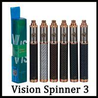 evirici döner pili toptan satış-Vizyon Spinner 3 Pil 1650 Spinner III VV Pil Karbon Fiber Bitmiş Değişken Gerilim 3.3 ~ 4.8V vs Spinner 2 EGO EVOD 0204107