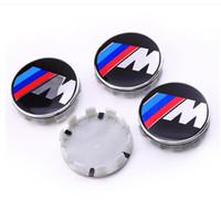 tampa do centro da roda do bmw 68mm venda por atacado-Emblema dos tampões de cubo do centro do emblema da roda de carro do poder de 68mm M auto para BMW