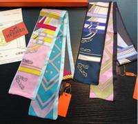 frauenbeutelhandgriff großhandel-Mode geometrischen Schal Frauen schlanke schmale Tasche Griff Seidenschal Doppel doppelseitiger Druck Twill Satin Marke kleines Band