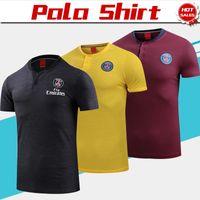 jerseys polo al por mayor-2019 Camisa polo PSG Negro amarillo raya roja Camiseta de fútbol 18/19 PSG Fútbol Polo Uniformes de fútbol Camisetas deportivas