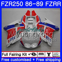Body For YAMAHA FZRR FZR 250R FZR250 FZR250R 86 87 88 89 249HM.18 FZR250RR FZR-250 FZR 250 1986 1987 1988 1989 stock white red Fairings kit