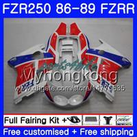 carenado 1989 al por mayor-Cuerpo para YAMAHA FZRR FZR 250R FZR250 FZR250R 86 87 88 89 249HM.18 FZR250RR FZR-250 FZR 250 1986 1987 1988 1989 1989 stock blanco Kit carenados rojo blanco