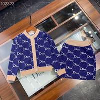 örme kazak etekleri toptan satış-Kız 2adet ayarlar Örme tığ örgü kazak + etekler Sonbahar Kış çocuk moda çocuk perakende giysiler kıyafetler