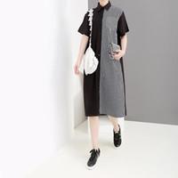 vestido coreano de talla libre al por mayor-2019 mujeres del estilo coreano vestido de camisa a rayas negro remiendo hasta la rodilla mujer Streetwear Casual Midi vestido tamaño libre Robe F1017