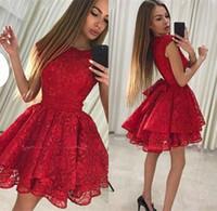 junior plus size yazlık elbiseler toptan satış-2019 Ucuz Kırmızı Dantel Kısa Homecoming Elbise Yaz Bir Çizgi Gençler Kokteyl Törenlerinde Parti Elbise Artı Boyutu Custom Made Onur Hizmetçi Elbiseler