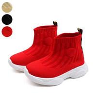 calcetines voladores al por mayor-Niños Calcetines Zapatillas de deporte Niños Bebé Flying Mesh Sneakers Spring 2019 Moda Niño Niño Zapato Niños Zapatos Casuales Beige Rojo Negro
