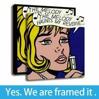 çerçeveli art deco boyama toptan satış-Roy Lichtenstein Art Deco Kanepe Arka Plan Duvar Boyama Kız HD Baskı Tuval Çerçeveli Sanat-Asmaya Hazır-Destek Özelleştirme
