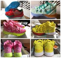 sünger file toptan satış-2019 Yeni Nike Kyrie 5 SpongeBob   Patrick Pembe Squidward Bayan Erkek Basketbol Ayakkabı Irving 5 Spor CJ6951-700 Tasarımcı Sneakers us5.5-12