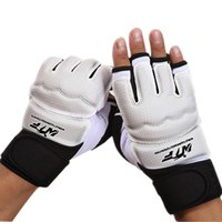 Wholesale sparring gear kids for sale - Group buy Half Fingers Kids Adults Sandbag Training Boxing Gloves PU Leather Fitness Sparring Taekwondo Gloves Fighting Hand Protector Y191202