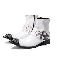 weiße stiefeletten männer groihandel-Herren Weiß Casual Komfort Schuhe Mann Breathable Short Cowboy Motorradstiefel Schwarz Trending Ankle Boots