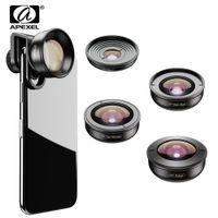 xiaomi geniş mercek toptan satış-Apexel 5in1 Cep Telefonu Lens Kiti Pro Fotoğrafçılık Hd Balıkgözü Süper Geniş Açı Makro Teleskop Lens Samsung Iphone Xs Xiaomi J190704