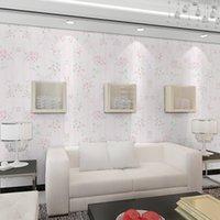 ingrosso rotolo pieno di carta da parati-Freschi pastorali fiori rosa pattern completo non tessuto rotolo confortevole muro ecologico che copre per la camera da letto soggiorno luminoso