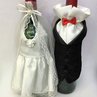Wholesale costume glasses resale online - 1Set Fashion Handmade High Quality Wine Glass Champagne Bottle Bride And Groom Costume Goblet Covers Wedding Party Decoration