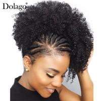 produtos de cabelo encaracolado natural preto venda por atacado-Natural rabo de cavalo preto para as mulheres 1 peça afro kinky curly rabos de cavalo clipe em 100% cabelo humano produtos de cabelo dolago remy