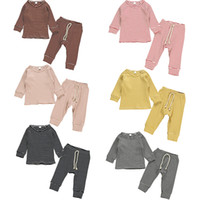 Wholesale black striped kids clothes set resale online - Baby Knitted Stripe Clothing Sets Knit Pits long Sleeve Top Bow Pants set Outfits Fashion Boutique Kids Clothes M1167