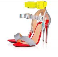 deri moda seks toptan satış-Kadın Pullu rugan sandalet tatlı moda yüksek topuklu karışık renk rahat toka seks sandalet