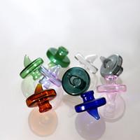 kappen für glasflaschen großhandel-Farbige Glasflasche Carb Cap Dome Für Weniger 34mm Quarz Banger Nagel 2mm 3mm 4mm Dick Enail Domeless Nails Dab Rig Caps Rauchzubehör