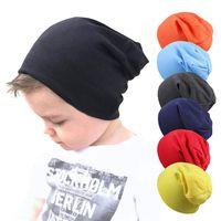 hip hop niños bailando al por mayor-Sólido calientes del bebé Street Dance Hip Hop del sombrero del bebé del casquillo del sombrero casquillo del Knit de primavera y otoño invierno sombrero de los niños del color