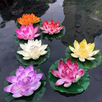 Wholesale pool water decorations floating resale online - Artificial Flowers Fake Lotus EVA Lotus Flower Water Lily Floating Pool Plants Bonsai Garden Home Wedding Decoration Kwiaty