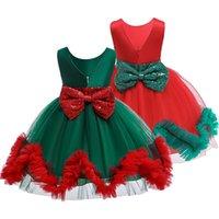 princesa natal decorações venda por atacado-Meninas Vestido de malha de Natal Lace mangas Vestido de lantejoulas laço Princesa Partido Decoração Party Dress Lace Execute Costume 2-8T 04