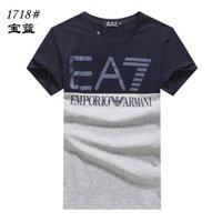 yarım ince toptan satış-2019 satış Erkek Marka T-Shirt Kısa Kollu Yuvarlak Boyun Pamuk Ince Erkek Büyük Boy Üst Yarım Kollu Gömlek İtalyan erkek marka T-Shirt