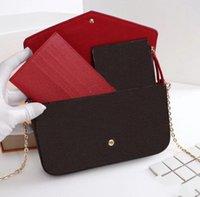 3g cüzdan toptan satış-kutusuyla Tasarımcı çanta moda kadın çanta zincir çanta üç parçalı çiçek çanta bayanlar PVC deri klasik cüzdan kart çanta