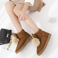 Wholesale new sweet boots online - New arrival sheepskin leather fur lined women winter suede snow boots pom pom style ankle winter shoes for sweet girls