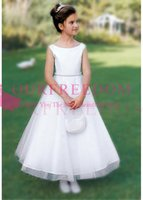 Wholesale simple purple flower girl dresses for sale - Group buy 2020 Cute Simple Elegant Flower Girls Dresses Bateau Neck Ankle Length Waist Beaded First Communion Dresses Girls Pageant Gown Custom Made