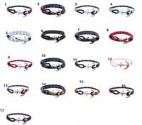 шарм браслеты якорь оптовых-Том Хоуп браслет для мужчин и женщин дизайнер ручной тройной нить веревка браслет из нержавеющей стали 17 цветов якорь подвески браслет подарок C379