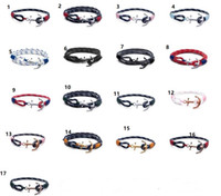 bracelet thread toptan satış-Tom umut bilezik Erkekler ve Kadınlar Için Tasarımcı El Yapımı Üçlü iplik halat bilezik paslanmaz çelik 17 renkler çapa charms bilezik Hediye C379