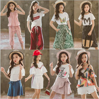 Wholesale big kids tutu skirts for sale - Group buy Kids Designer Clothes Big Girls Summer Sports Suits Child Short Sleeve Printed Tops Pants Outfits Cotton T shirt Skirts Suit Styles B5748