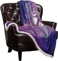 Wholesale india blanket for sale - Group buy Double Lamb Cashmere Blanket Sofa Winter Super Warm Ohm Symbol India Purple Mandala Chakra Throw Blankets for Office Bedspread